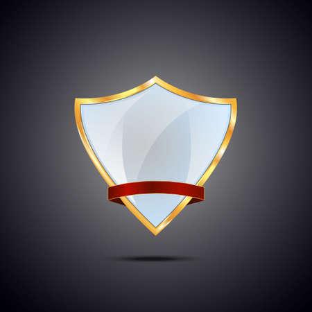 golden shield: Metallic light blue golden shield on grey background