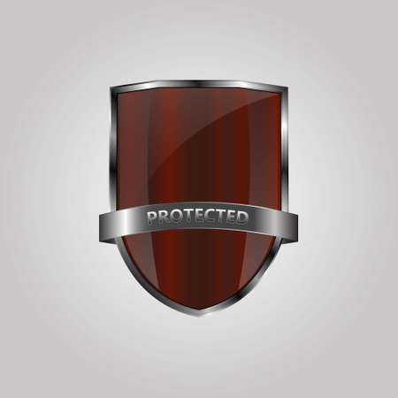 shield sign: Metallic red silver shield on grey background Illustration