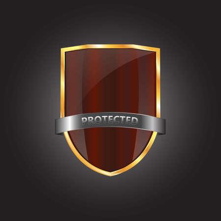 golden shield: Metallic red golden shield on grey background