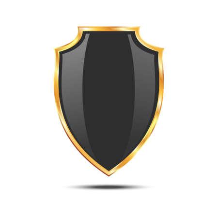 golden shield: Metallic black golden shield icon isolated on white background