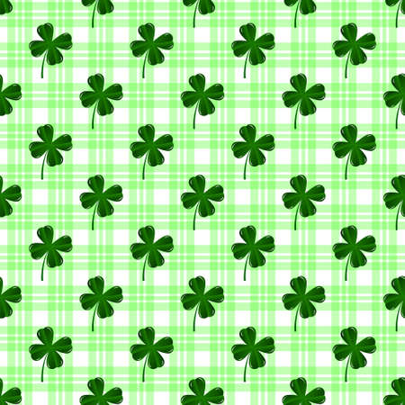 Seamless pattern with four leaves green clovers. St. Patrics Day background