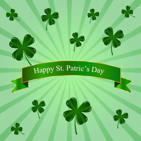 patric icon: St. Patrics Day poster with four leaves clover on green background
