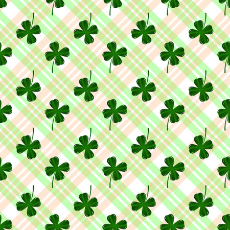 patrics: Seamless pattern with four leaves green clovers. St. Patrics Day background