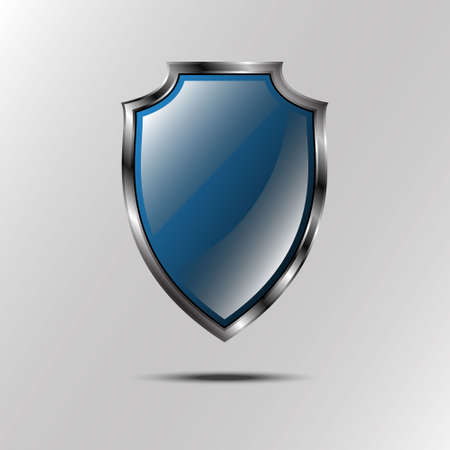 black and silver: Metallic blue silver shield. icon isolated on grey background