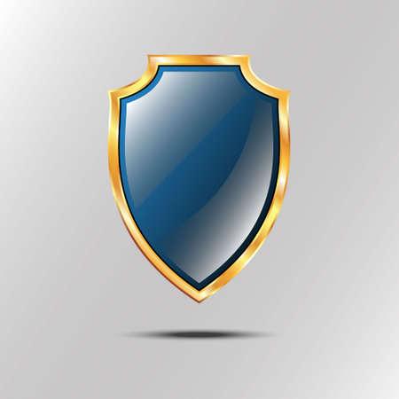 golden shield: Metallic blue golden shield.  icon isolated on grey background Illustration