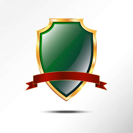 golden shield: Metallic green golden shield with red ribbon. icon isolated on grey background