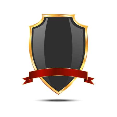 golden shield: Metallic black golden shield. icon isolated on white background