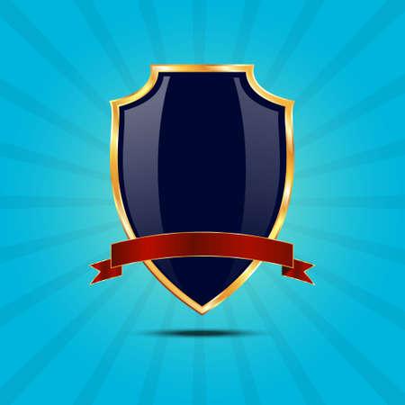 golden shield: Metallic blue golden shield.