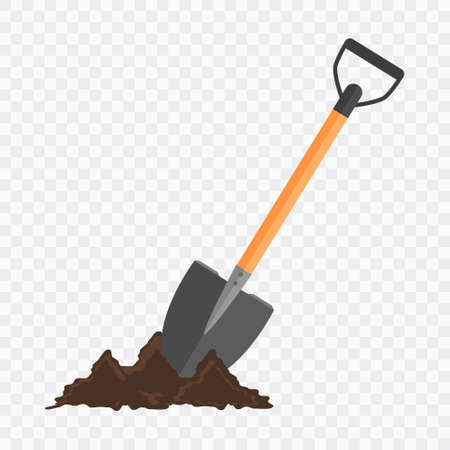 checked background: Shovel in the ground. Gardening tool on checked background. Isolated shovel in heap of soil