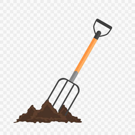checked background: Pitchfork in the ground. Gardening tool on checked background. Isolated shovel in heap of soil