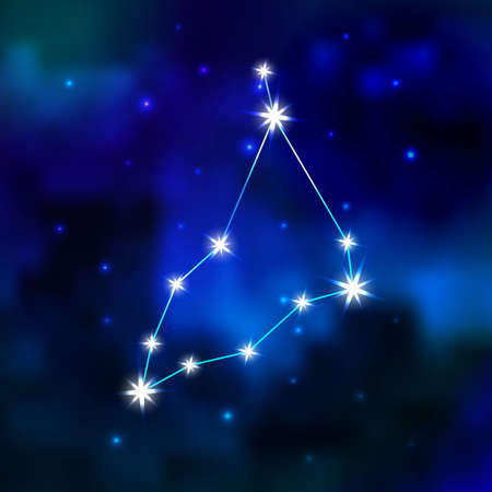 astral: Zodiac constellation in the sky. Constellation Capricorn in Universe.