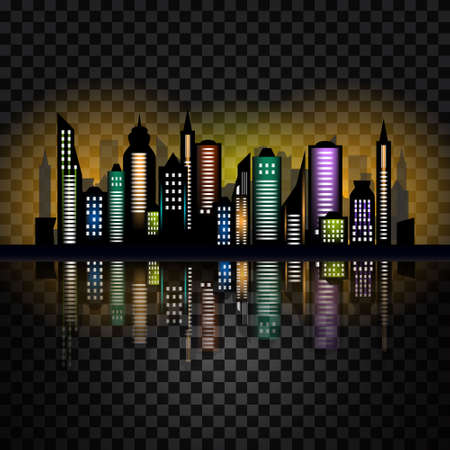 checked background: Skycrapers. City skyline. City illustration on checked background Illustration