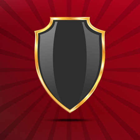 golden shield: Metallic black golden shield on red comic background with rays Illustration