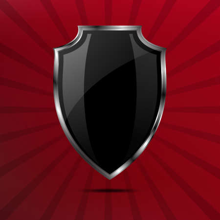 black and silver: Metallic black silver shield on red comic background with rays