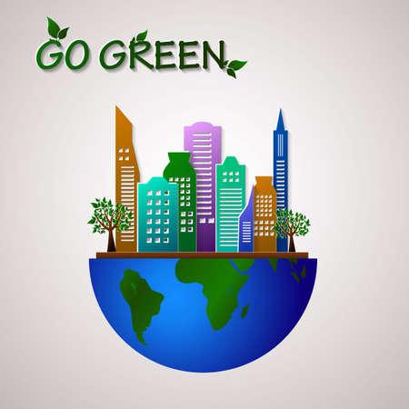 guard house: Go green design template. Environment illustration. Eco planet concept