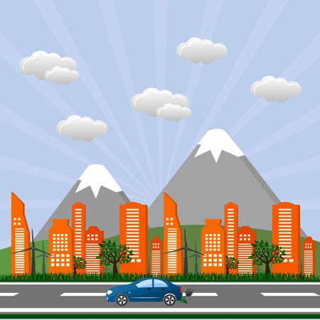 green environment: Go green design template. Environment illustration. Ecology landscape