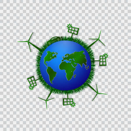 urbanization: Go green design template. Environment illustration. Eco planet concept