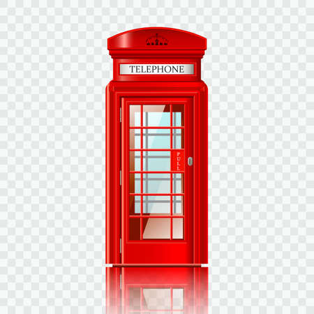 red telephone box: London red telephone box realistic vector illustration