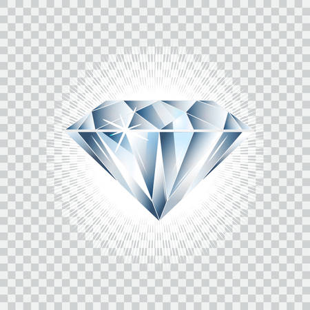 Diamond realistic vector illustration. Brilliant isolated on checked background Ilustrace