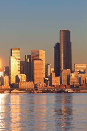 Scenic view of Puget Sound and downtown Seattle, Washington. photo