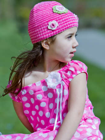 kids dress: Young girl in pink outfit