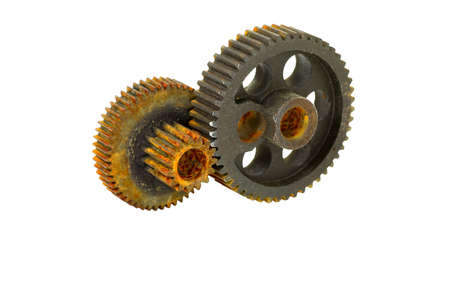rusty background: Rusted   weathered double gear wheel Stock Photo