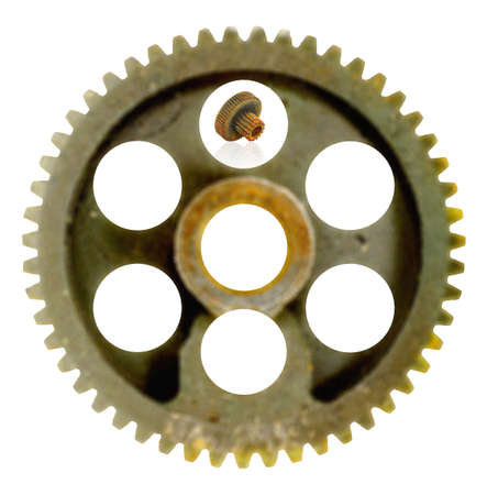 Rusted   weathered double gear wheel photo
