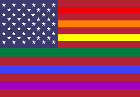 Conceptual American flag with white stripes in PRIDE colors