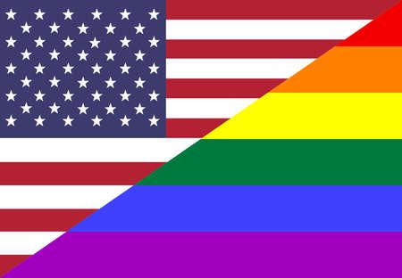 bandera gay: Bandera conceptual con colores orgullo americano Foto de archivo
