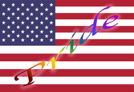 American flag displays PRIDE diagonally