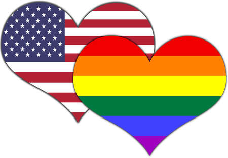 Conceptual hearts display American   Pride flag colors  photo