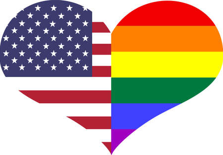 Conceptual heart split with American   Pride flag colors