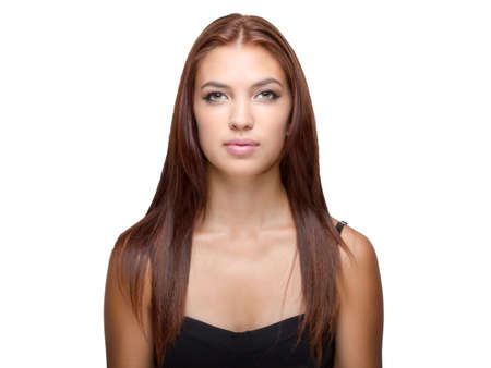 eyes hazel: Female with auburn hair hazel eyes looks ahead Stock Photo