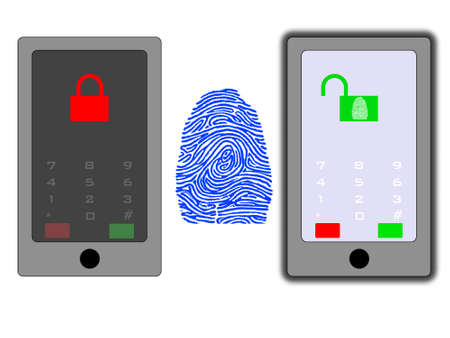 Conceptual old vs new fingerprint technology photo