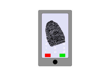 Abstract cell phone with future fingerprint technology photo