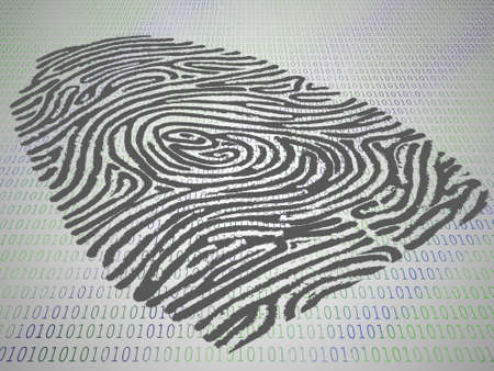 Conceptual perspective of finger print stamped atop computer code photo