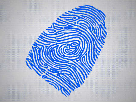 Conceptual fingerprint and code symbolize technology trends and industry photo