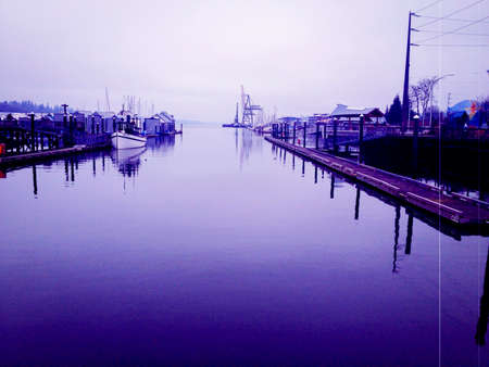 dreary: Marina provides mooring port facilities and public park access during a dreary fall day