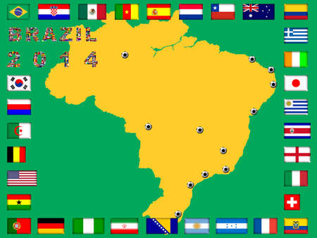 qualified: Brazil map with qualified nations for 2014 tournament
