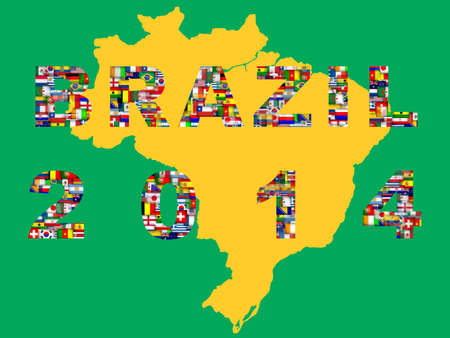 Brazil map with qualified nations for 2014 tournament