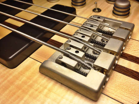 Musical or artistic abstract from electric bass guitar Imagens