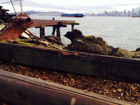 steel: Remnants of old pier structures are repurposed to create art in waterfront parks Stock Photo
