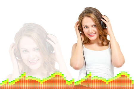 downloadable: Cute happy young woman listens to headphones Stock Photo