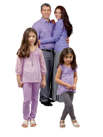 Loving multiracial family with parents and children smiling and hugging