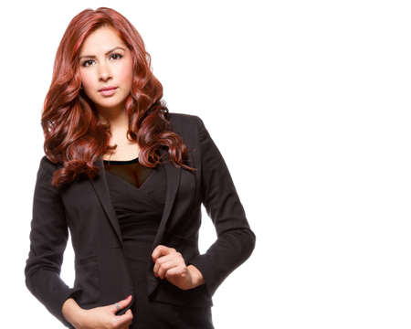 Young redheaded woman in black outfit photo