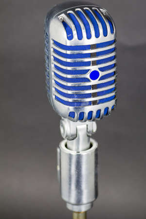 Used vintage microphone on stand Imagens