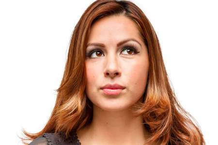 head shots: Attractive female facial expressions and emotion head shots Stock Photo