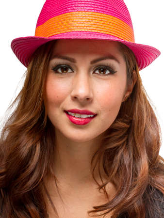 Fashionable woman wearing a fashionable and bright Fedora hat photo