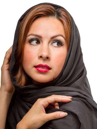 Young hispanic female wearing a black scarf photo