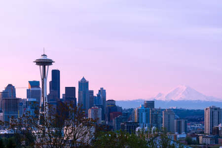 puget sound: Downtown Seattle Cityscape At Sunrise Stock Photo